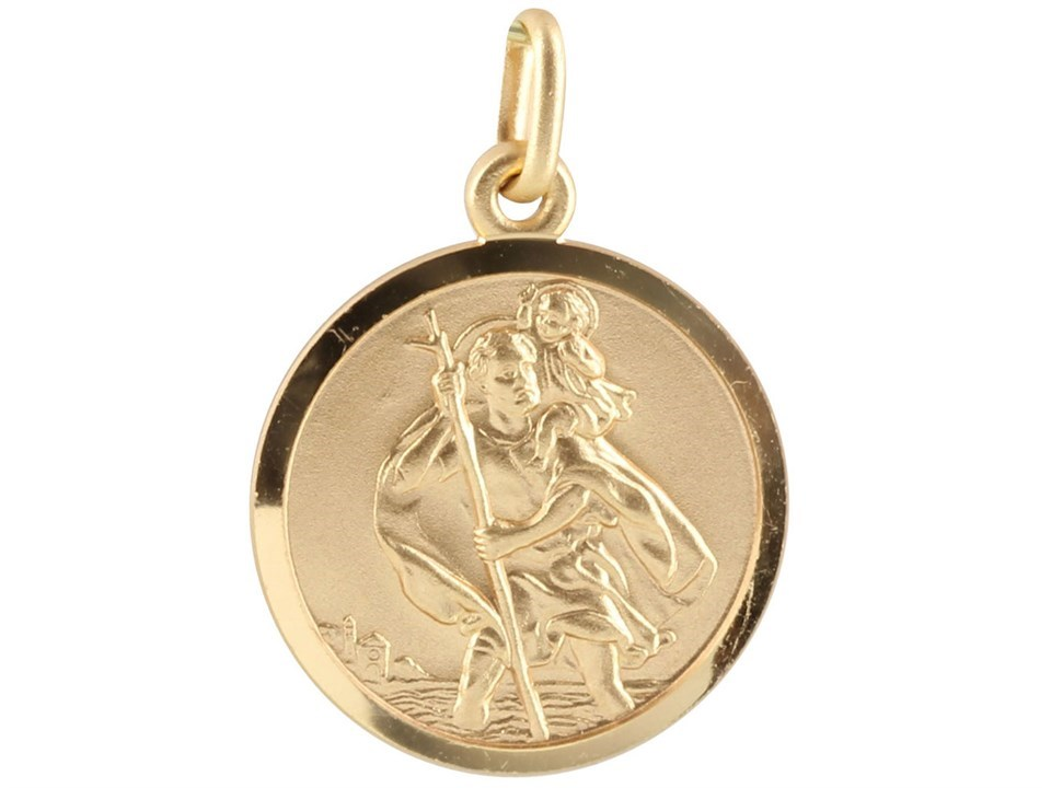 971a89cdcd2 Default Image 9ct Gold 18mm St.Christopher Charm - X50867Alternative  Image1. compare. Product Information ...