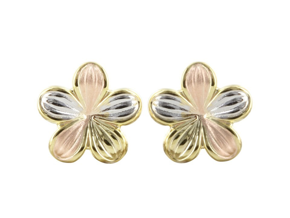Attractive 9ct 3 Colour Gold Ladies Stud Earrings 11mm*11mm