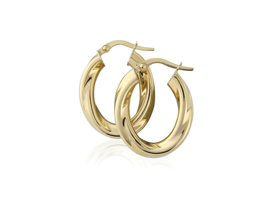 8af8129074540 9ct yellow gold oval twisted creole hoop earrings - X52091